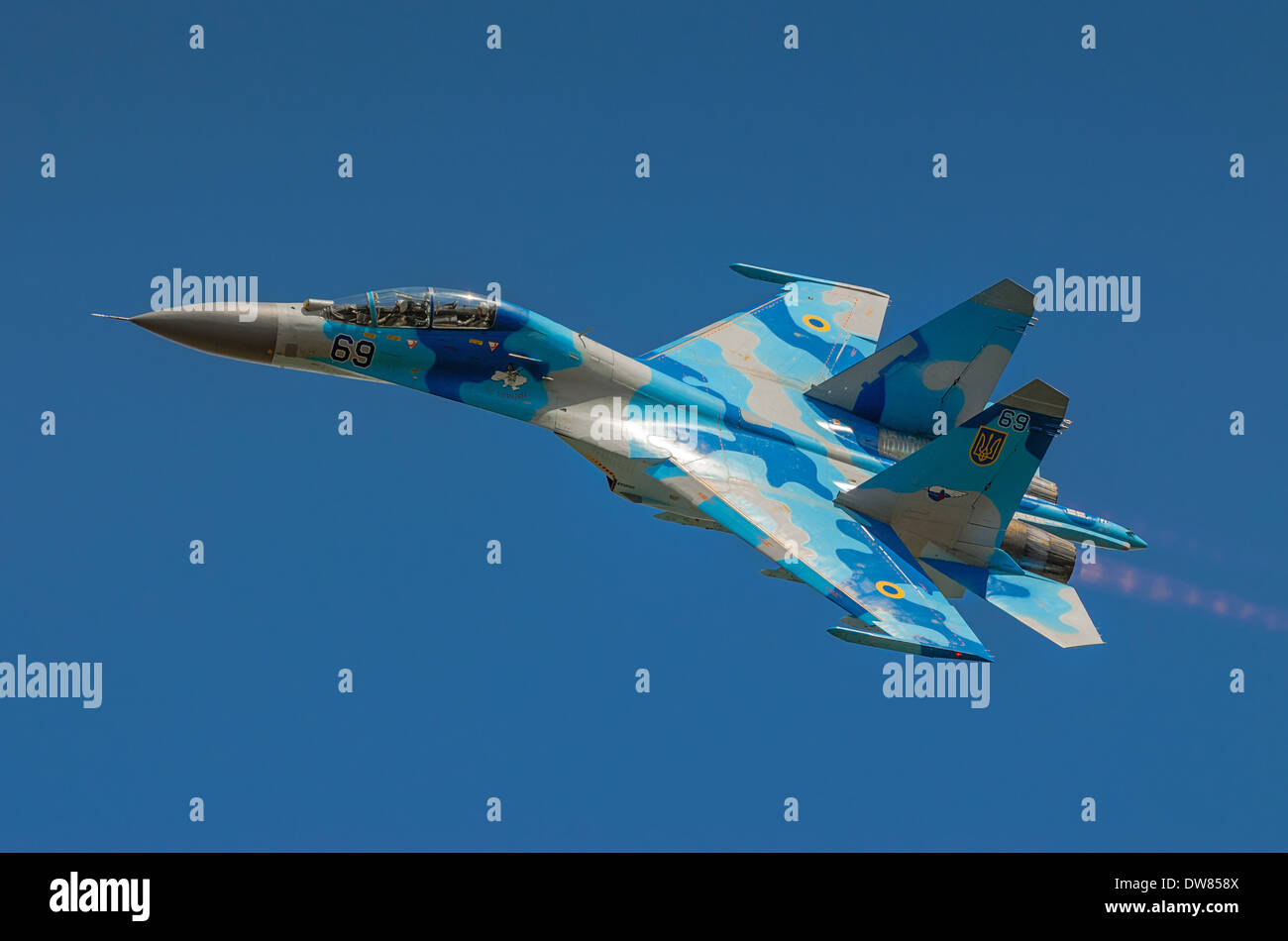 Ukrainian SU-27 display during Air Show 2013 event on August 25, 2013 in Radom, Poland - Stock Image