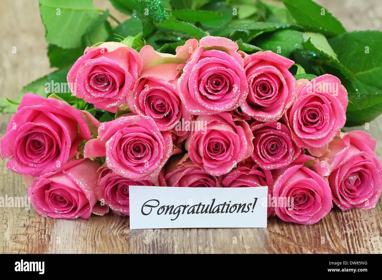 Congratulations Card With Pink Roses Bouquet With Glitter Stock