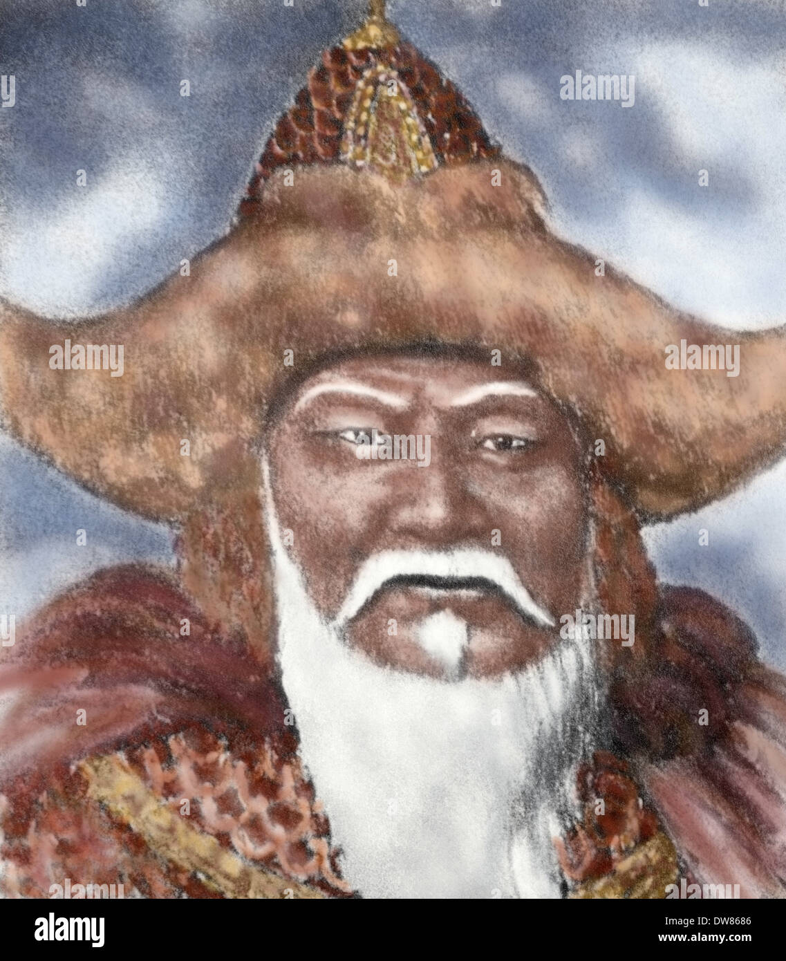 Genghis Khan (1162-1227). Emperor of Mogol Empire. Engraving. Colored. - Stock Image