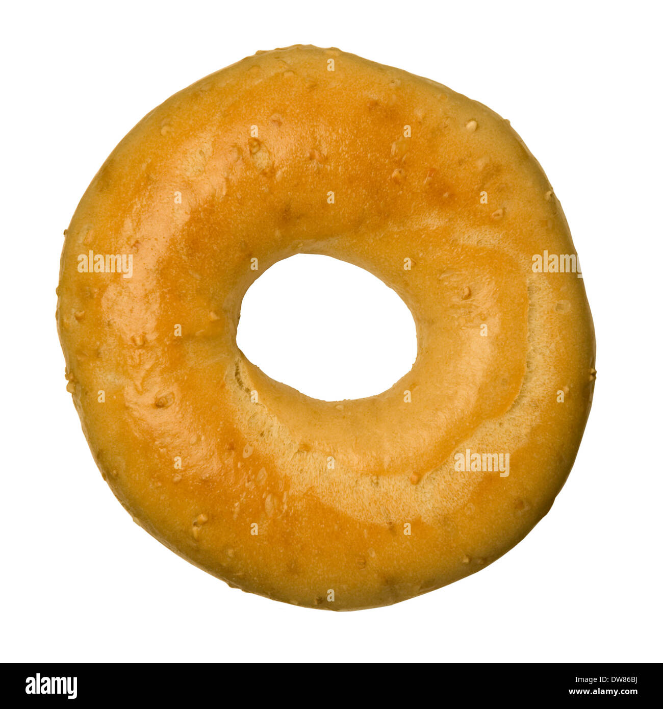Oat bran bagel isolated against a white background - Stock Image