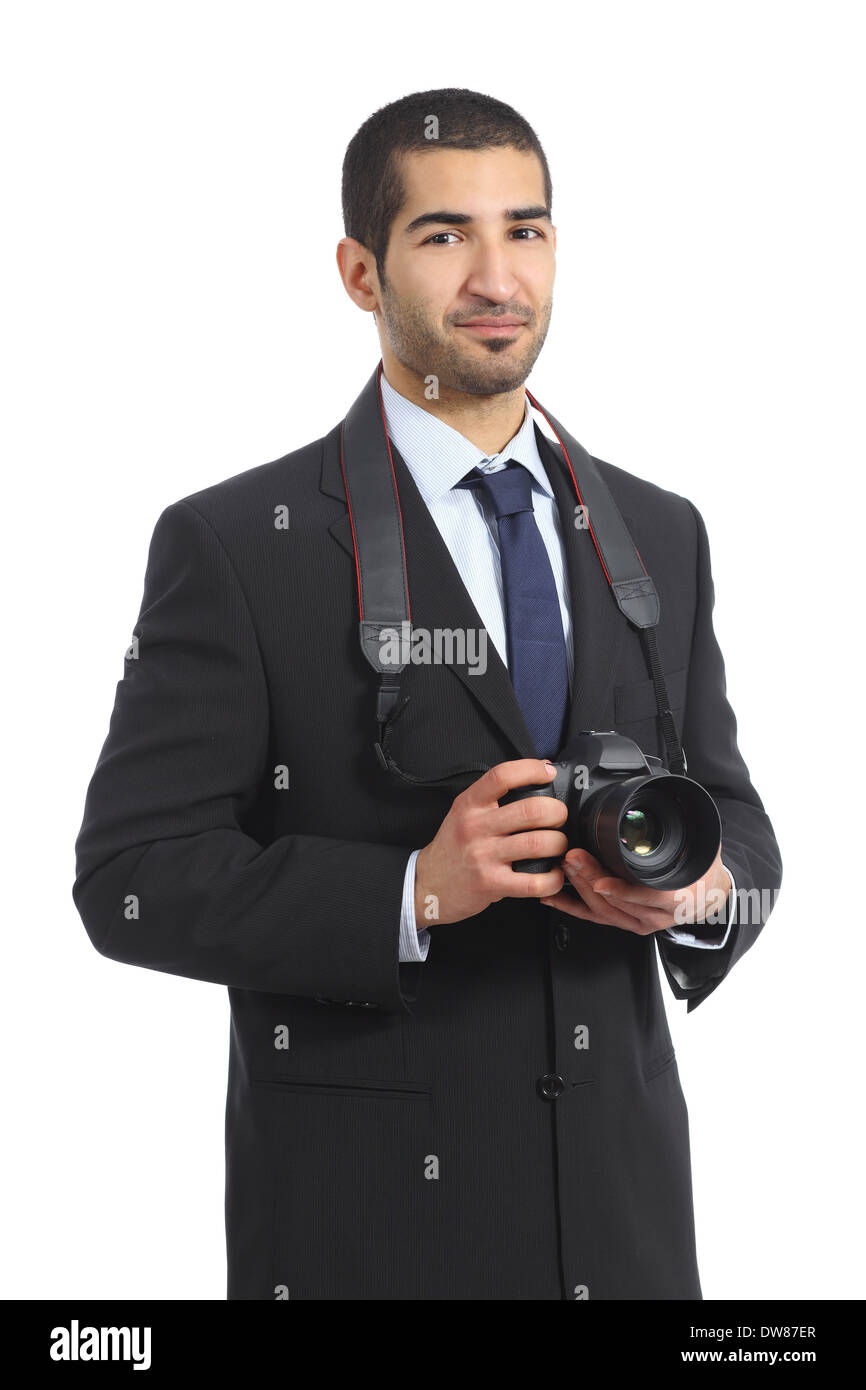 Arab professional photographer holding a dslr digital camera isolated on a white background - Stock Image