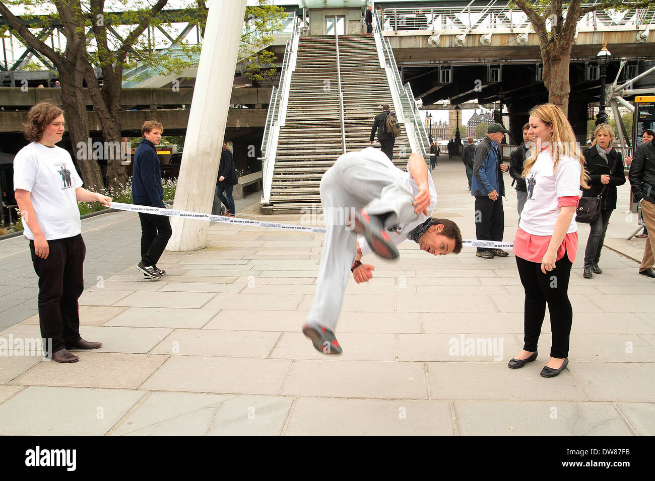 Stunt man Chase Armitage in London - Stock Image