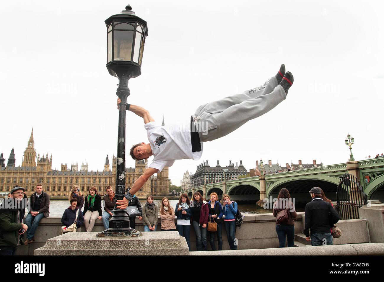 stuntman Chase Armitage in London - Stock Image