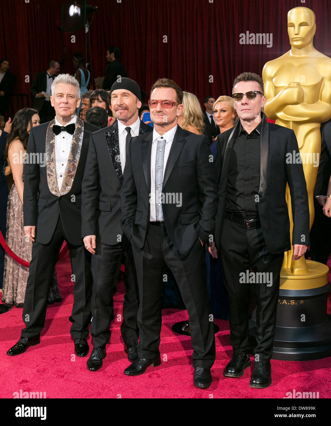 U2 86TH ANNUAL ACADEMY AWARDS RED CARPET LOS ANGELES  USA 02 March 2014 - Stock Image
