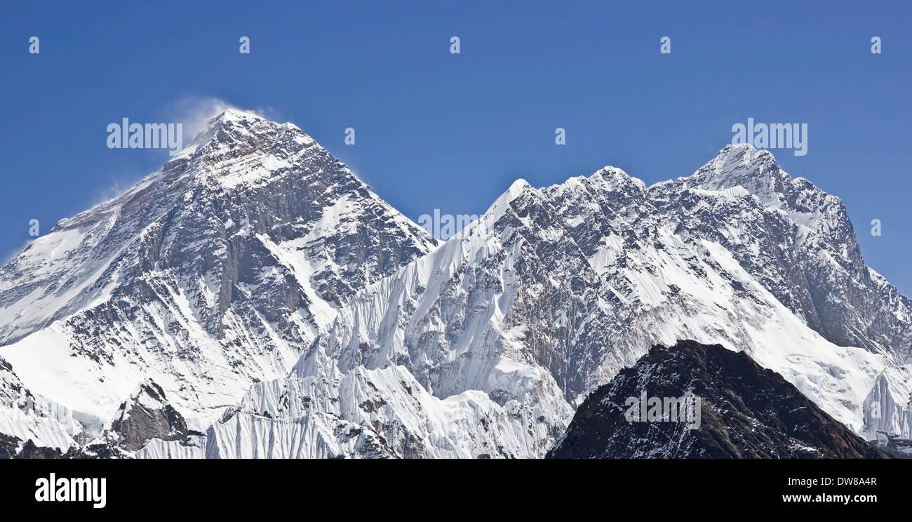 Everest summit on the left. - Stock Image