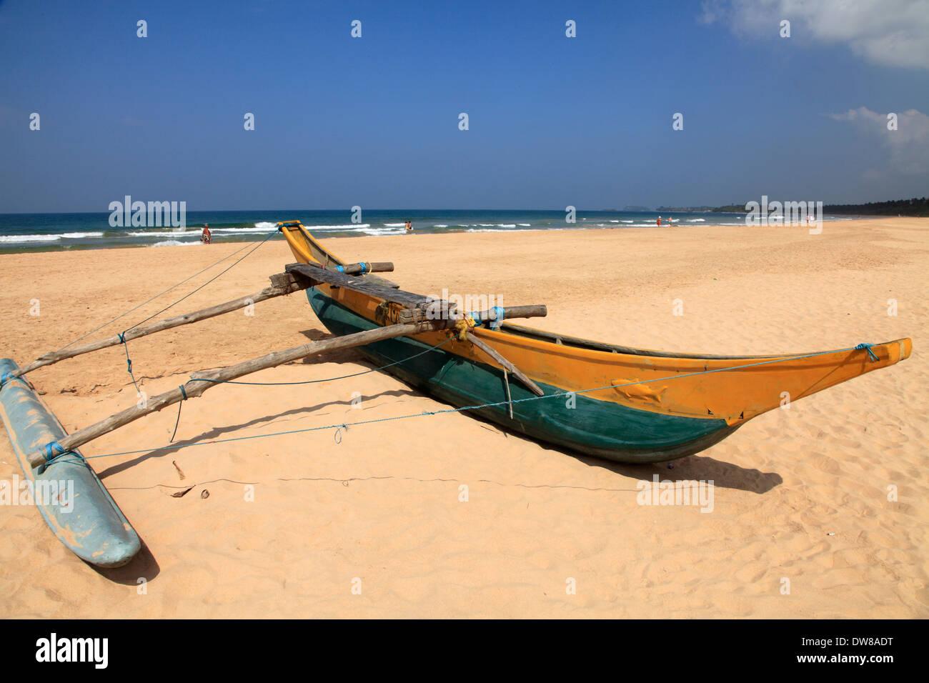 Sri Lanka, Bentota, beach, outrigger canoe, Stock Photo