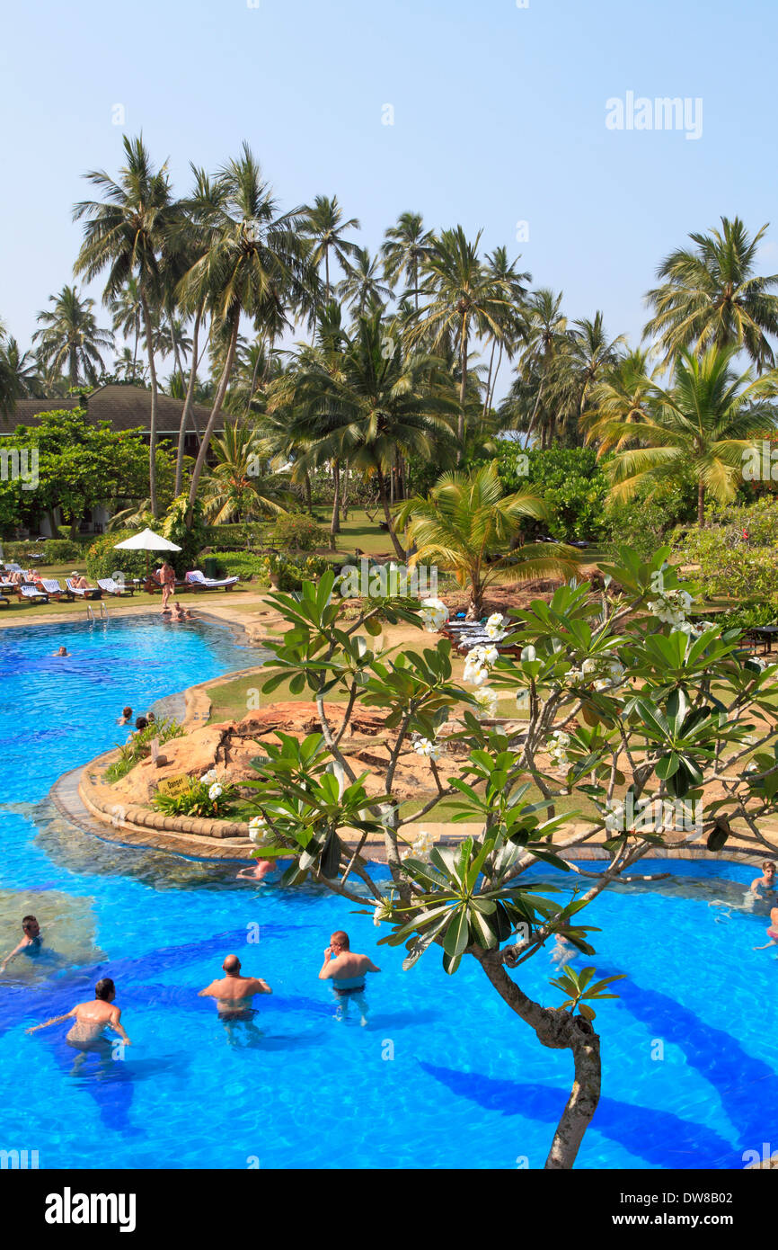 Sri Lanka, Bentota, beach, pool, palms, people, Stock Photo