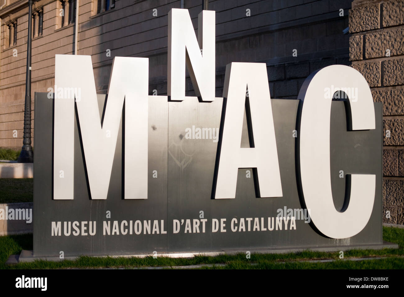 Signboard at the entrance of the National Museum of Art of Catalonia (MNAC) in Barcelona. - Stock Image