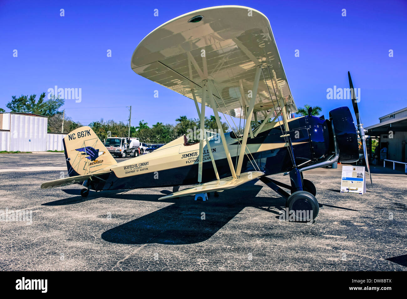 A 1930s Model 4C Stearman Speedmill biplane - Stock Image