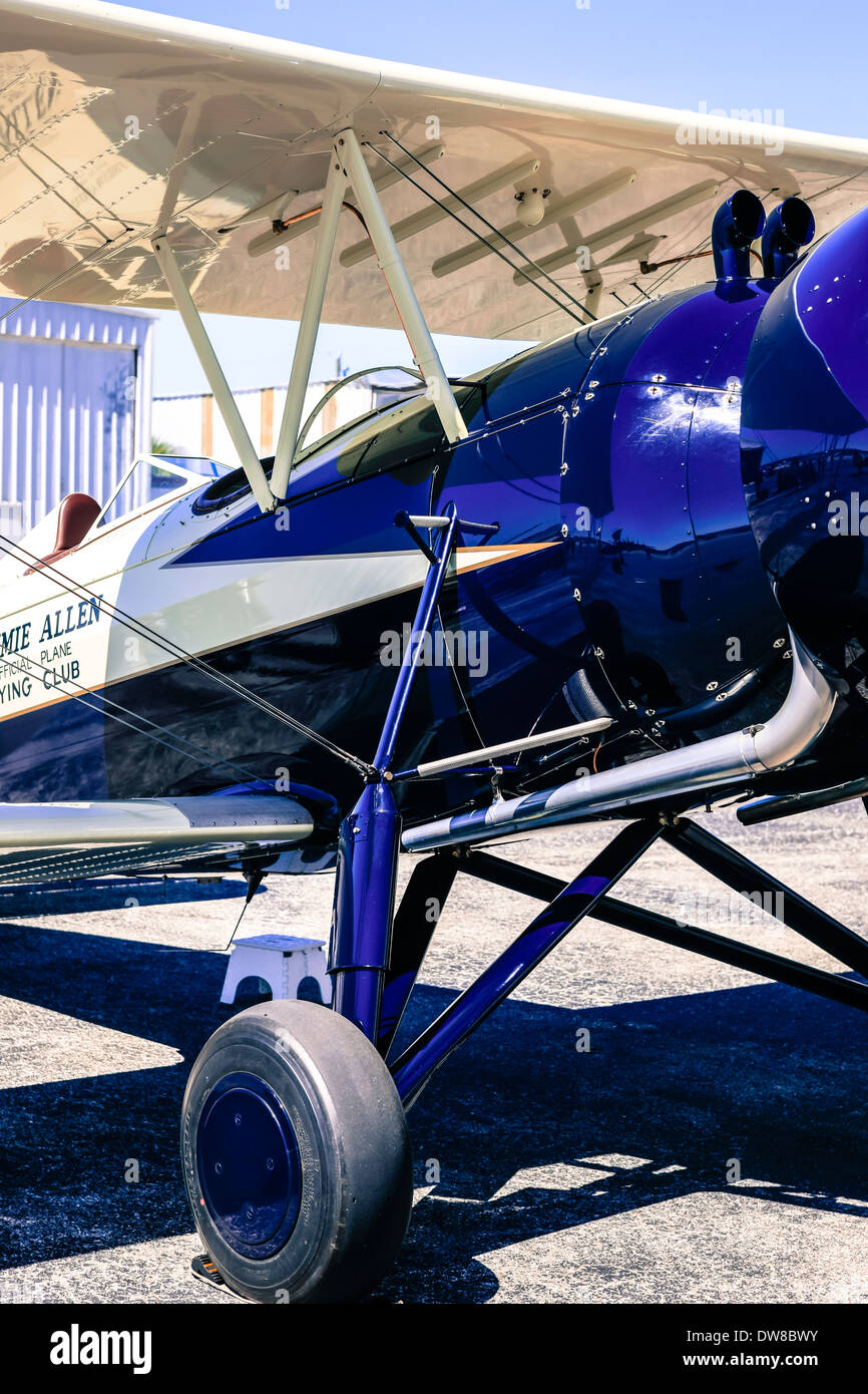 A 1930s Model 4C Stearman Speedmill bi-plane - Stock Image