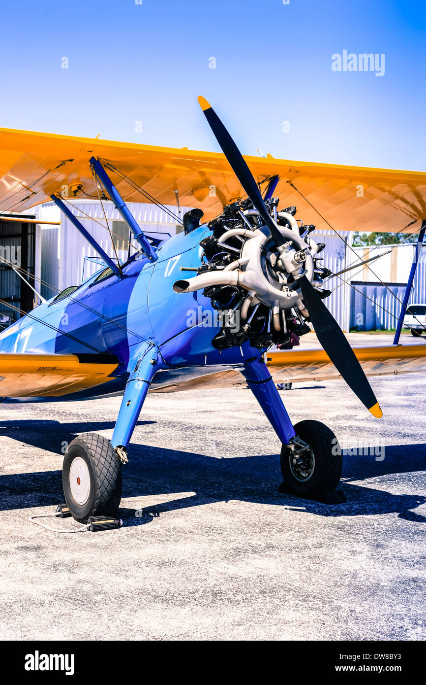 A Boeing Stearman Model 75 Continental R-670 engine - Stock Image