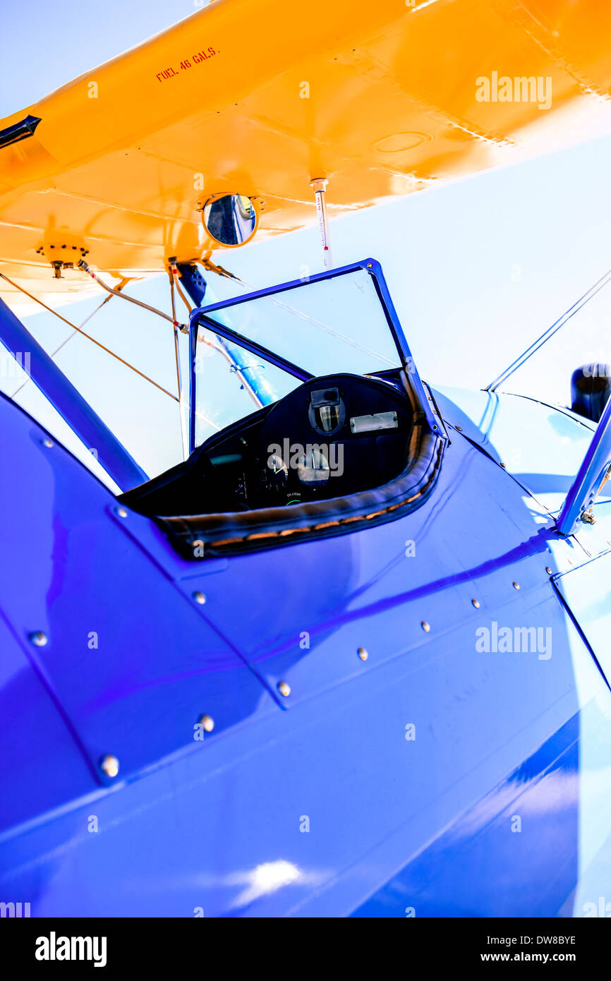 A Boeing Stearman Model 75 open cockpit - Stock Image