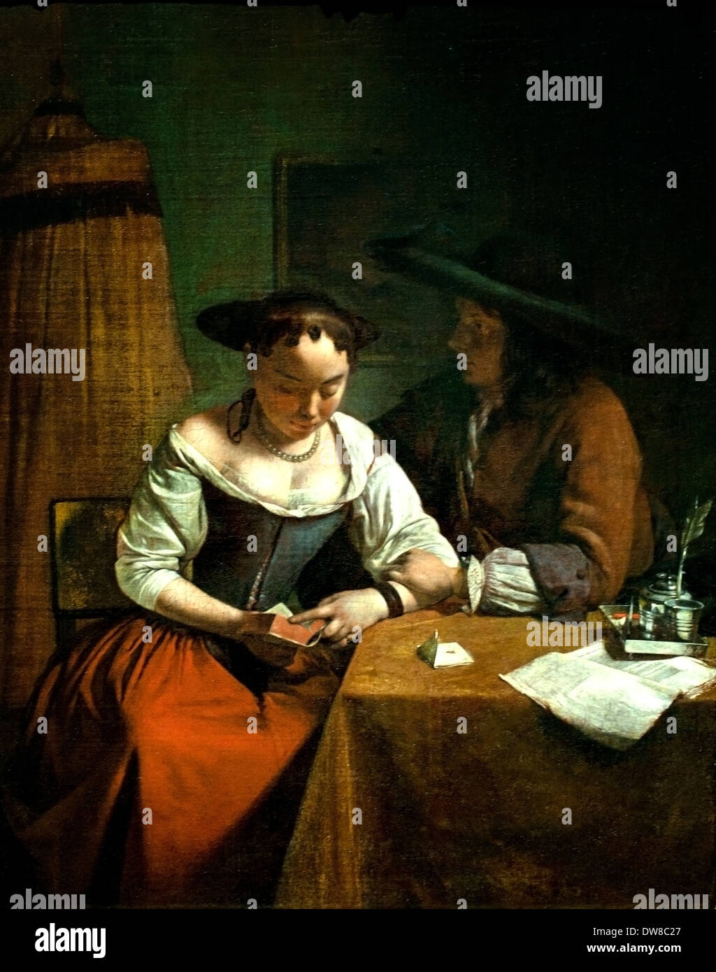 Jacob Ochtervelt 1634 - 1682 The love request to the Reading 1680 Dutch Netherlands - Stock Image