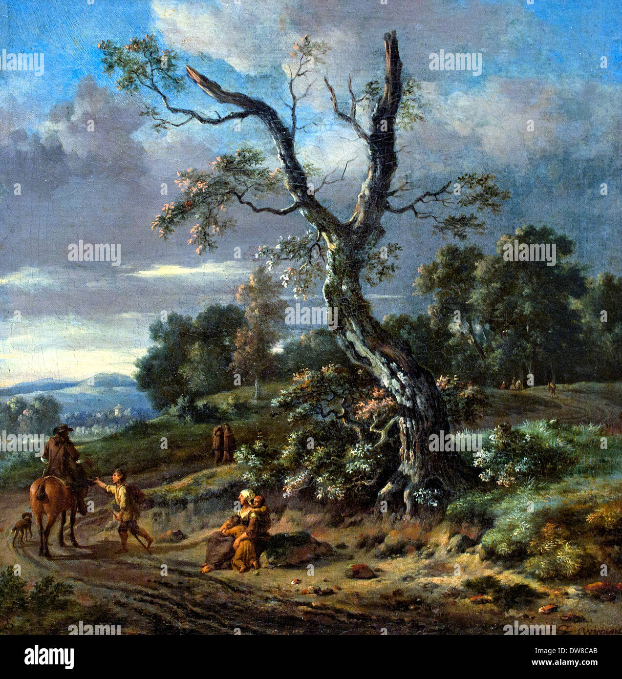 Hilly landscape with a beggar family in 1660 Jan Wynants 1630 - 1684 Dutch Netherlands - Stock Image