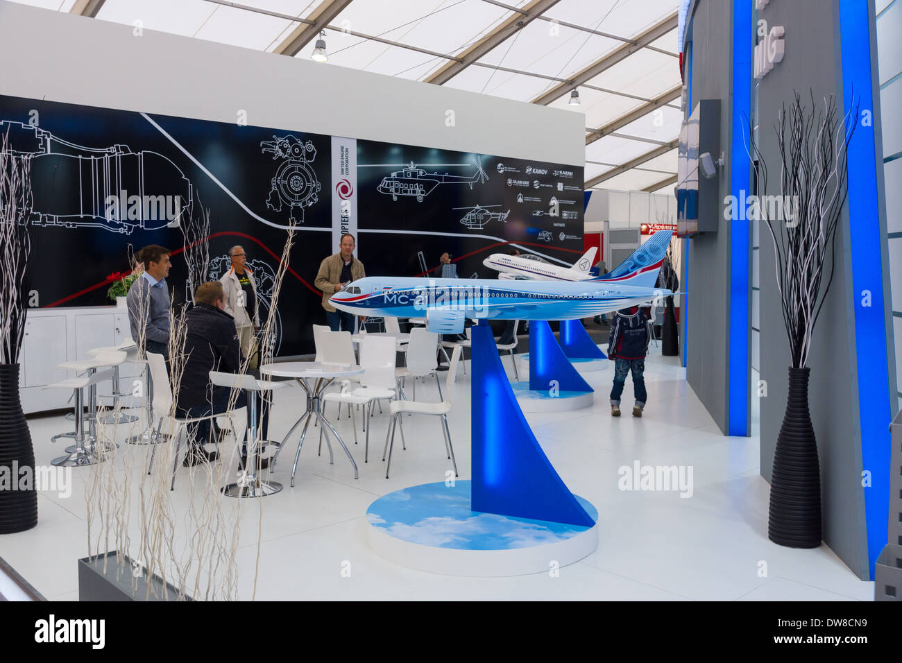 ILA Berlin Air Show 2012. Model of a passenger jet Irkut MS-21. - Stock Image