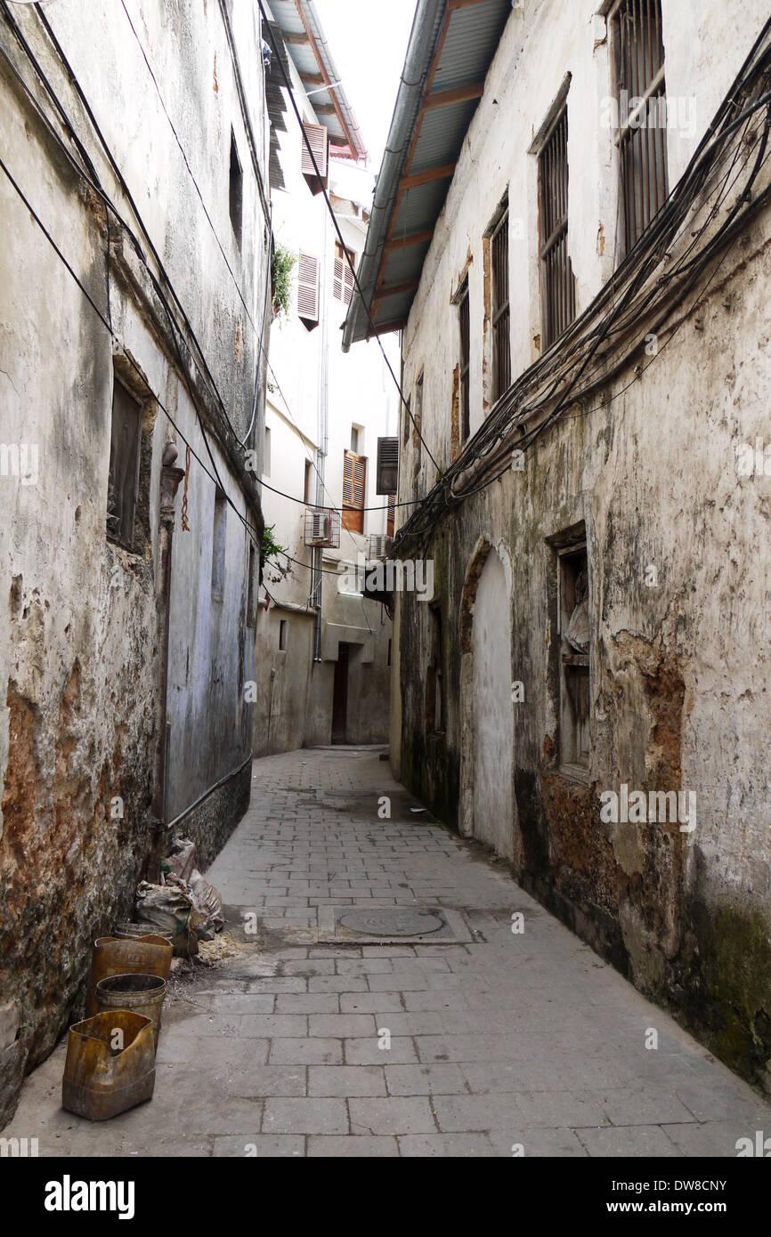 Narrow Street In Old Stonetown On The Island Of Zanzibar