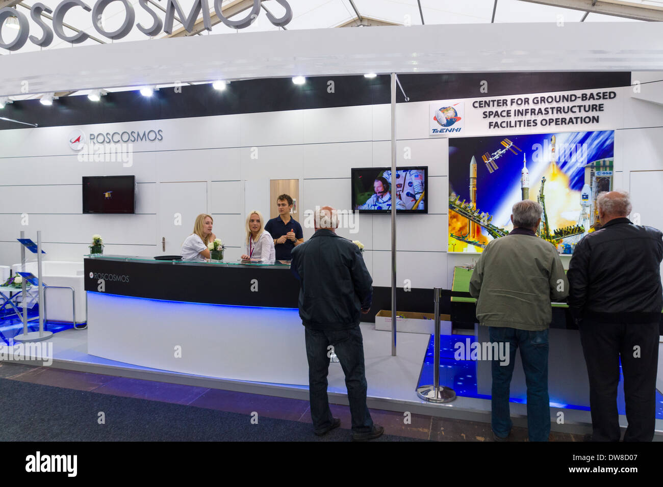 ILA Berlin Air Show 2012. Stand Russian Federal Space Agency. Roscosmos. - Stock Image