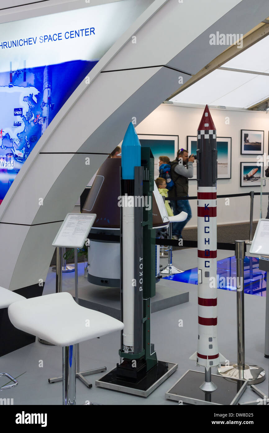 ILA Berlin Air Show 2012. Stand Russian Federal Space Agency. Roscosmos. Light class launch vehicles - Rockot and Kosmos. - Stock Image
