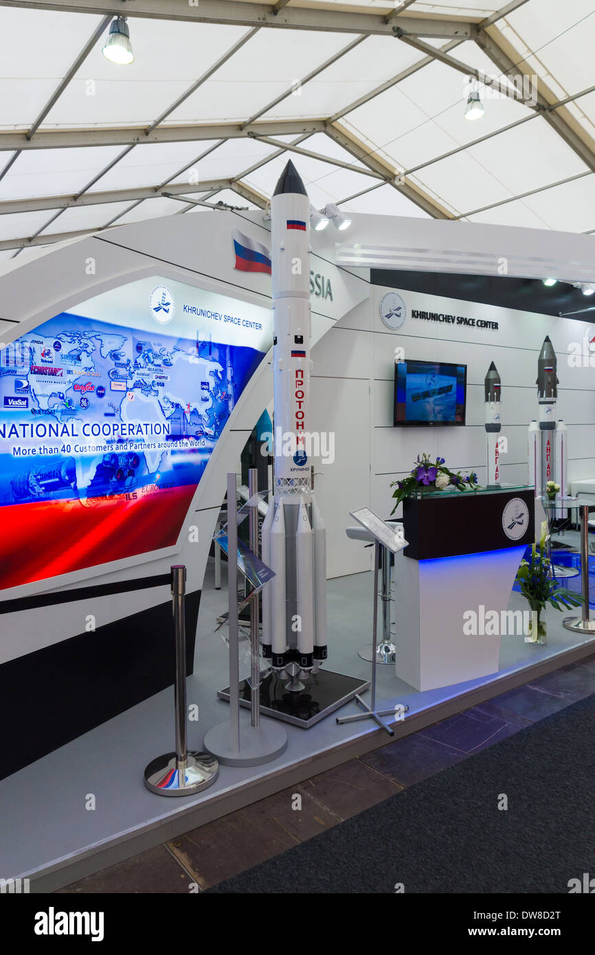 ILA Berlin Air Show 2012. Stand Russian Federal Space Agency. Roscosmos. Heavy class launch vehicle - Proton. - Stock Image