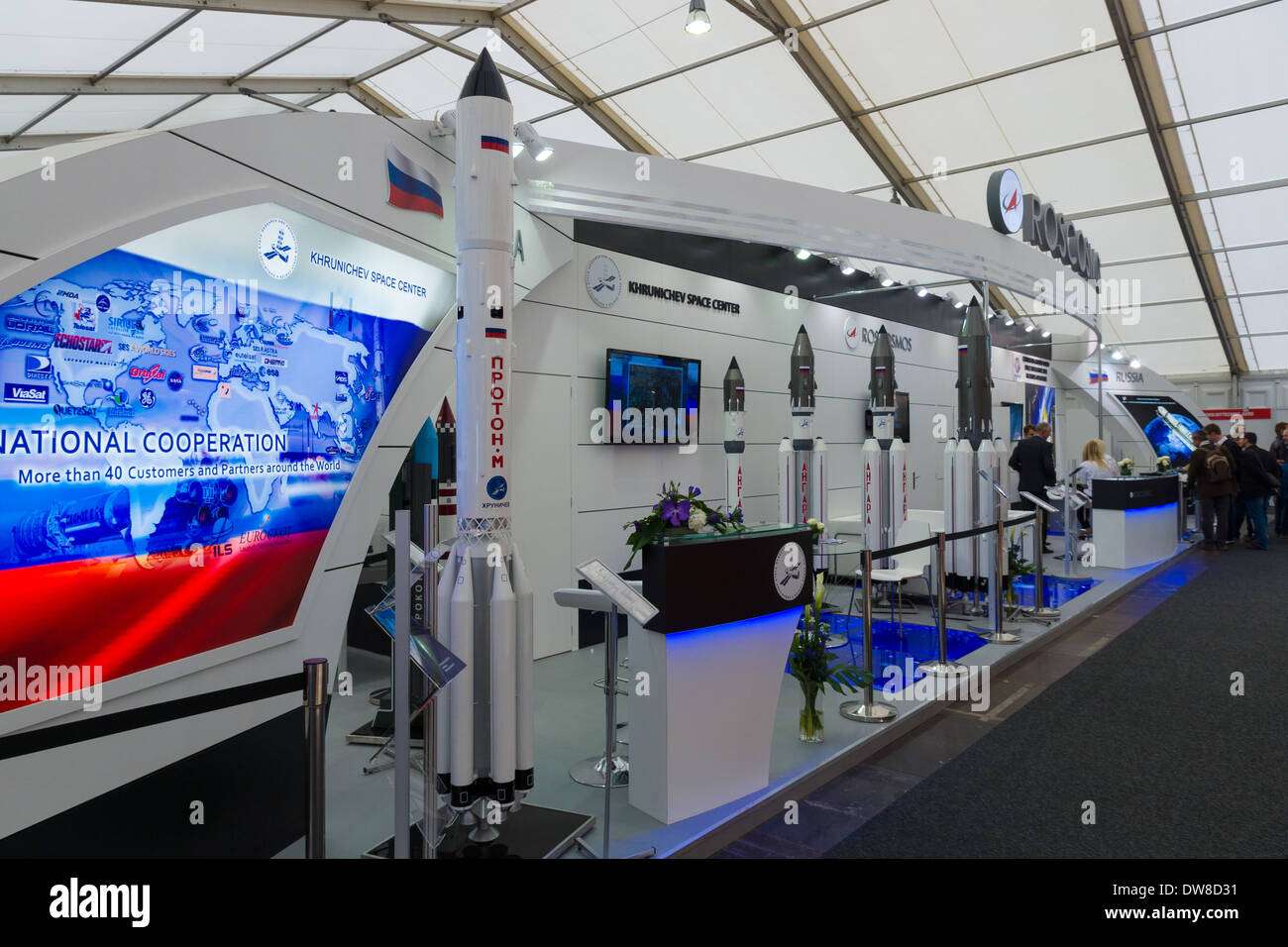 ILA Berlin Air Show 2012. Stand Russian Federal Space Agency. Roscosmos. Heavy class launch vehicles - Proton and Angara - Stock Image