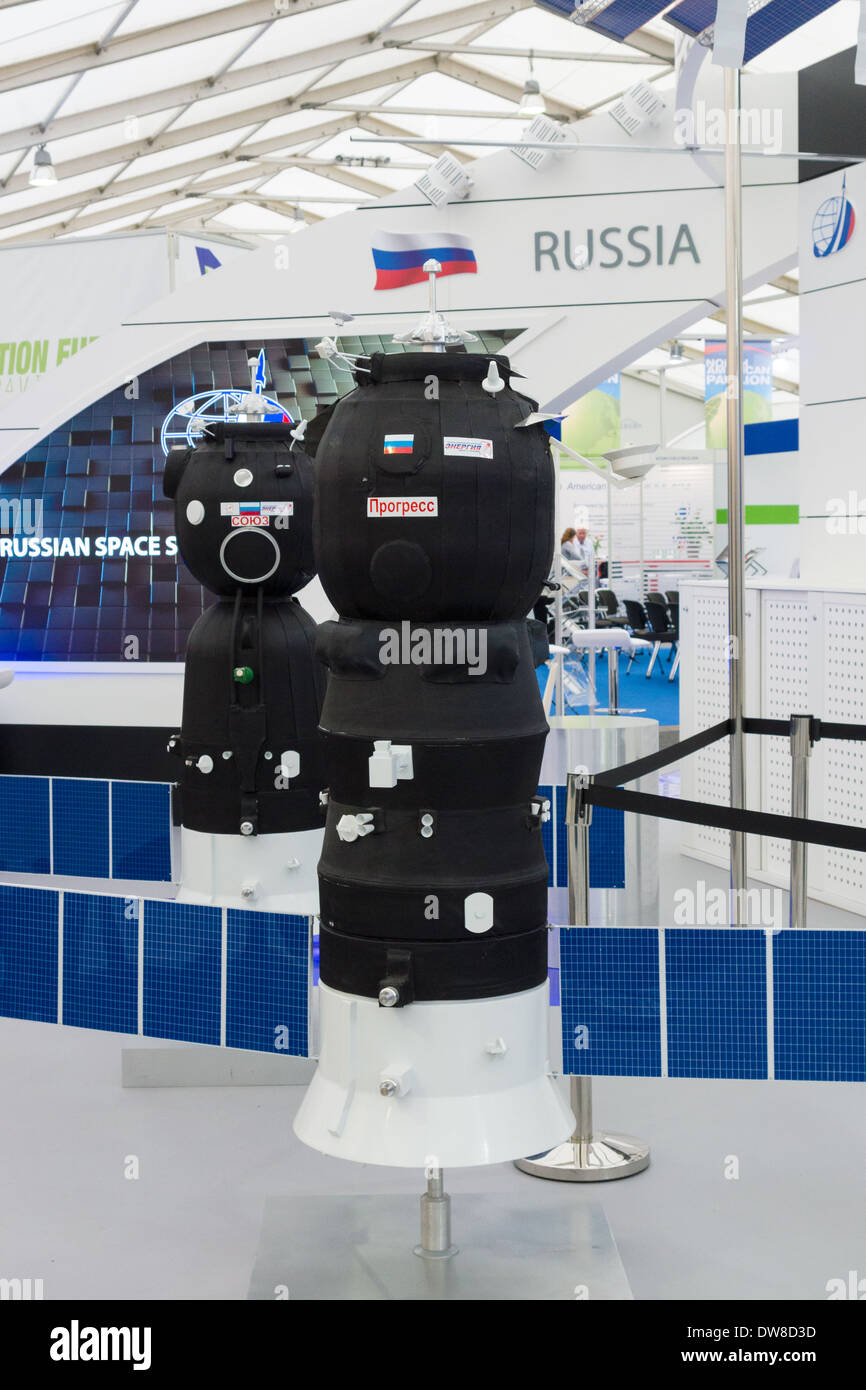 ILA Berlin Air Show 2012. Stand Russian Federal Space Agency. Roscosmos. Model spacecraft Progress and Soyuz. - Stock Image