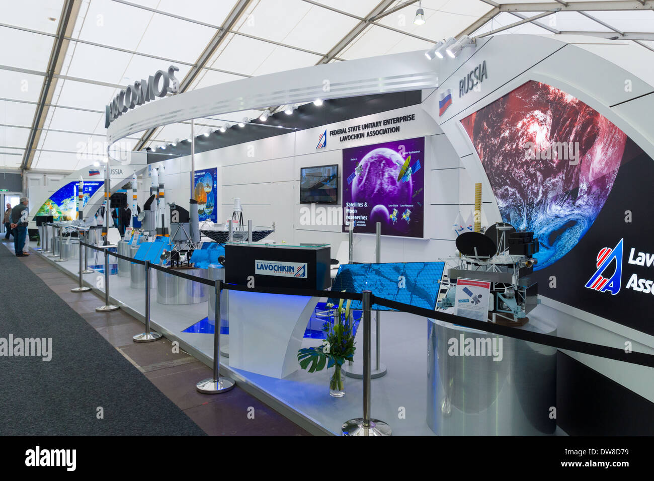 ILA Berlin Air Show 2012. Stand Russian Federal Space Agency. Roscosmos. Lavochkin Research and Production Association - Stock Image