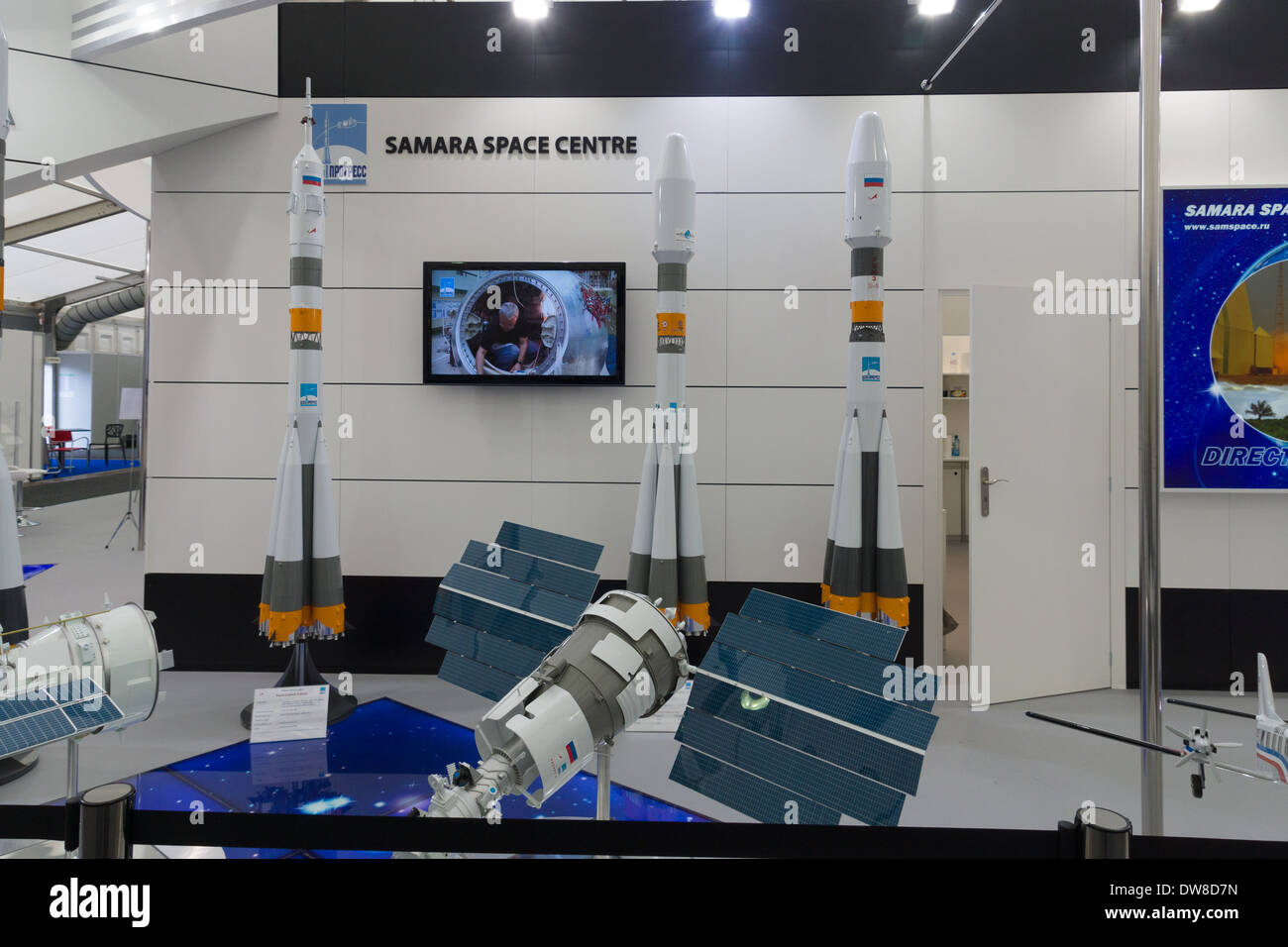 ILA Berlin Air Show 2012. Stand Russian Federal Space Agency. Roscosmos. Samara Space Center - Stock Image