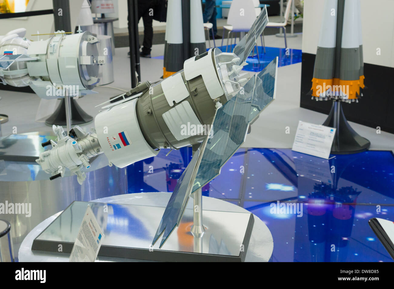ILA Berlin Air Show 2012. Stand Russian Federal Space Agency. Roscosmos. Samara Space Center. Model satellite 'Resource P1' - Stock Image