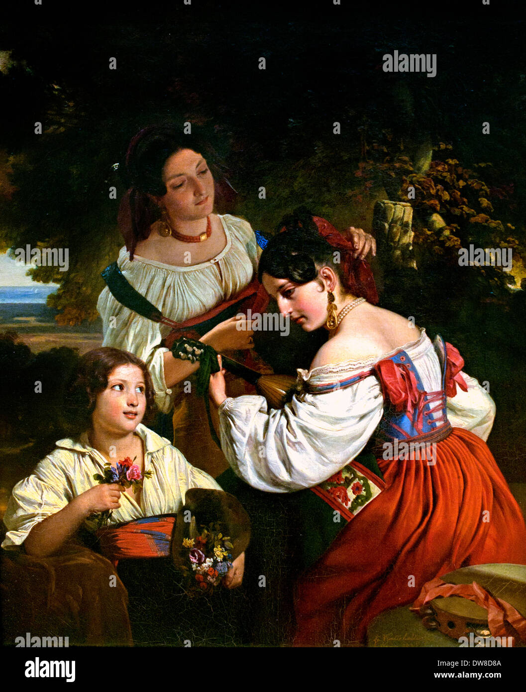 Roman Genre Scene 1833 Franz Xaver Winterhalter1805 - 1873 German Germany - Stock Image