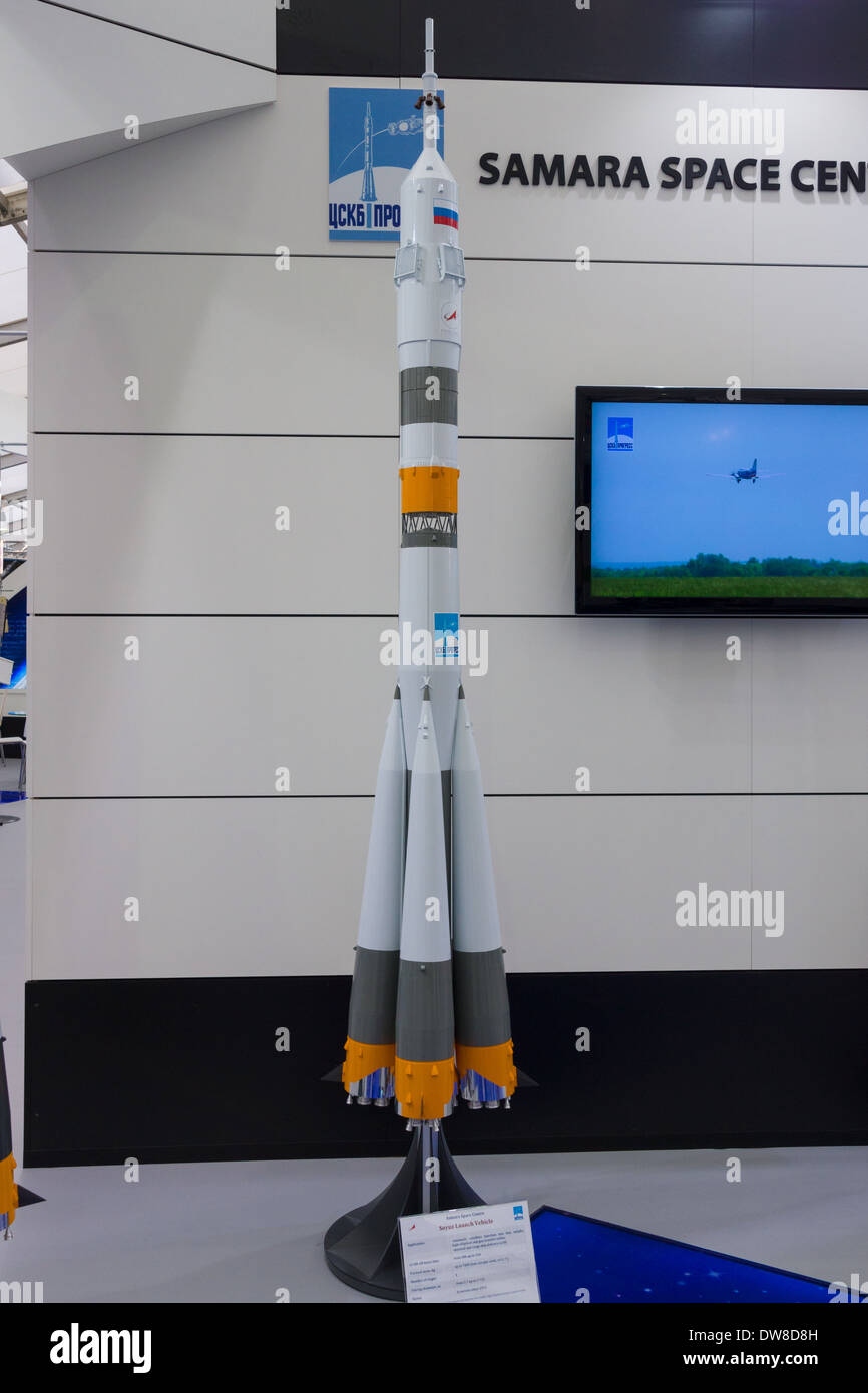 ILA Berlin Air Show 2012. Stand Russian Federal Space Agency. Roscosmos. Samara Space Center. Model launch vehicle 'Soyuz' - Stock Image