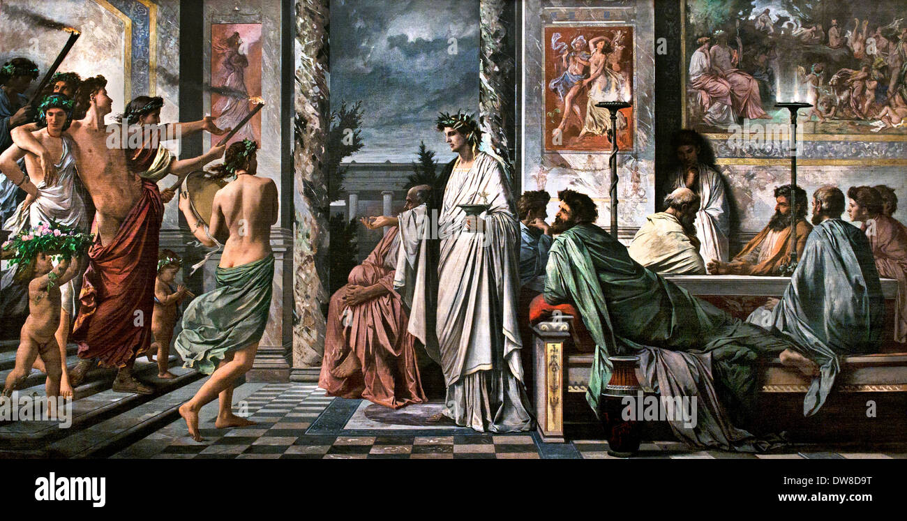 The Banquet of Plato 1869 Anselm Feuerbach 1829 - 1880 ( Greek philosopher in Classical Greece ) German Germany - Stock Image