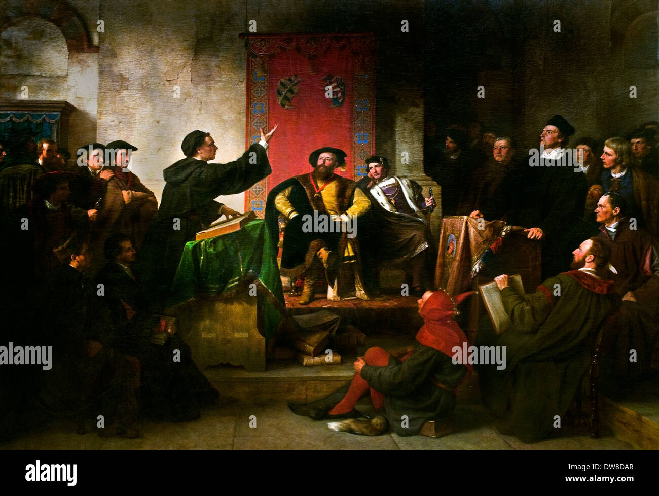 Disputation between Luther and Eck 1867 Carl Friedrich Lessing 1808 - 1880 Martin Luther 1483 – 1546 Protestant German Germany - Stock Image