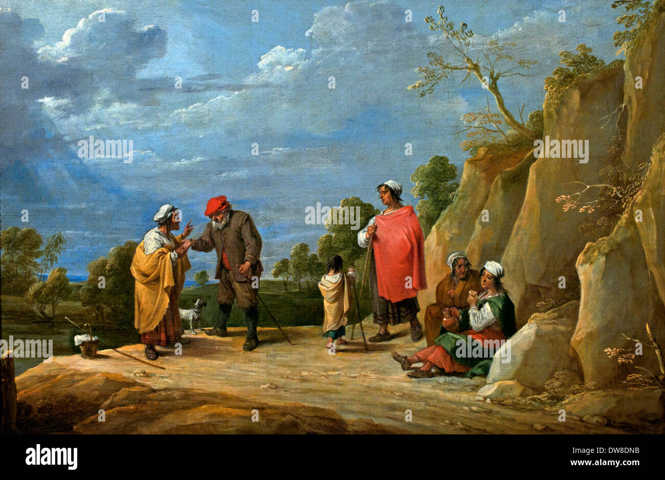 Four gypsy women true saying with a child, one a farmer David Teniers  the Younger 1610-1690 Flemish Belgian Belgium - Stock Image