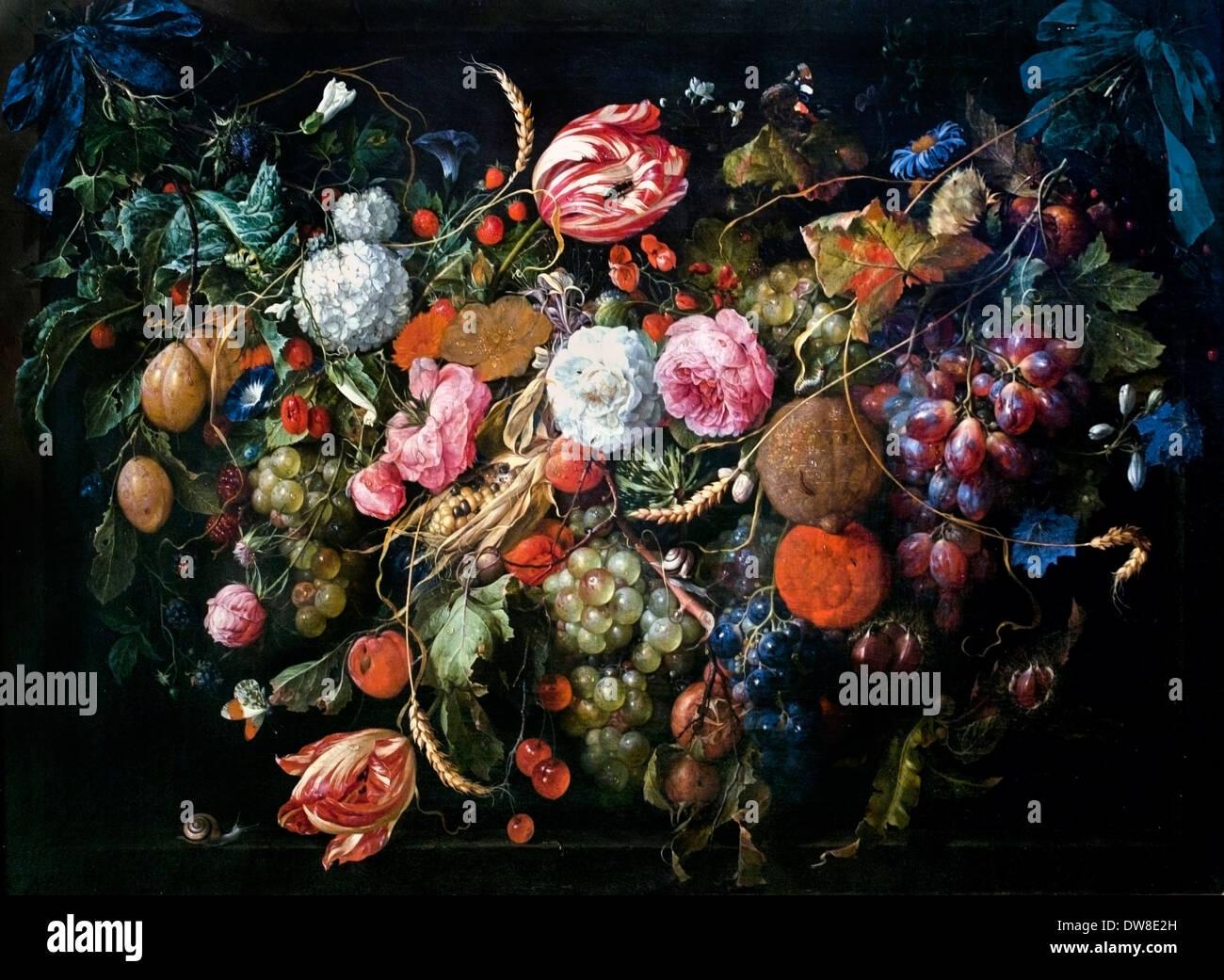 Garland of flowers and fruits 1650 Jan Davidsz. de Heem 1606 - 1684 Dutch Netherlands Stock Photo