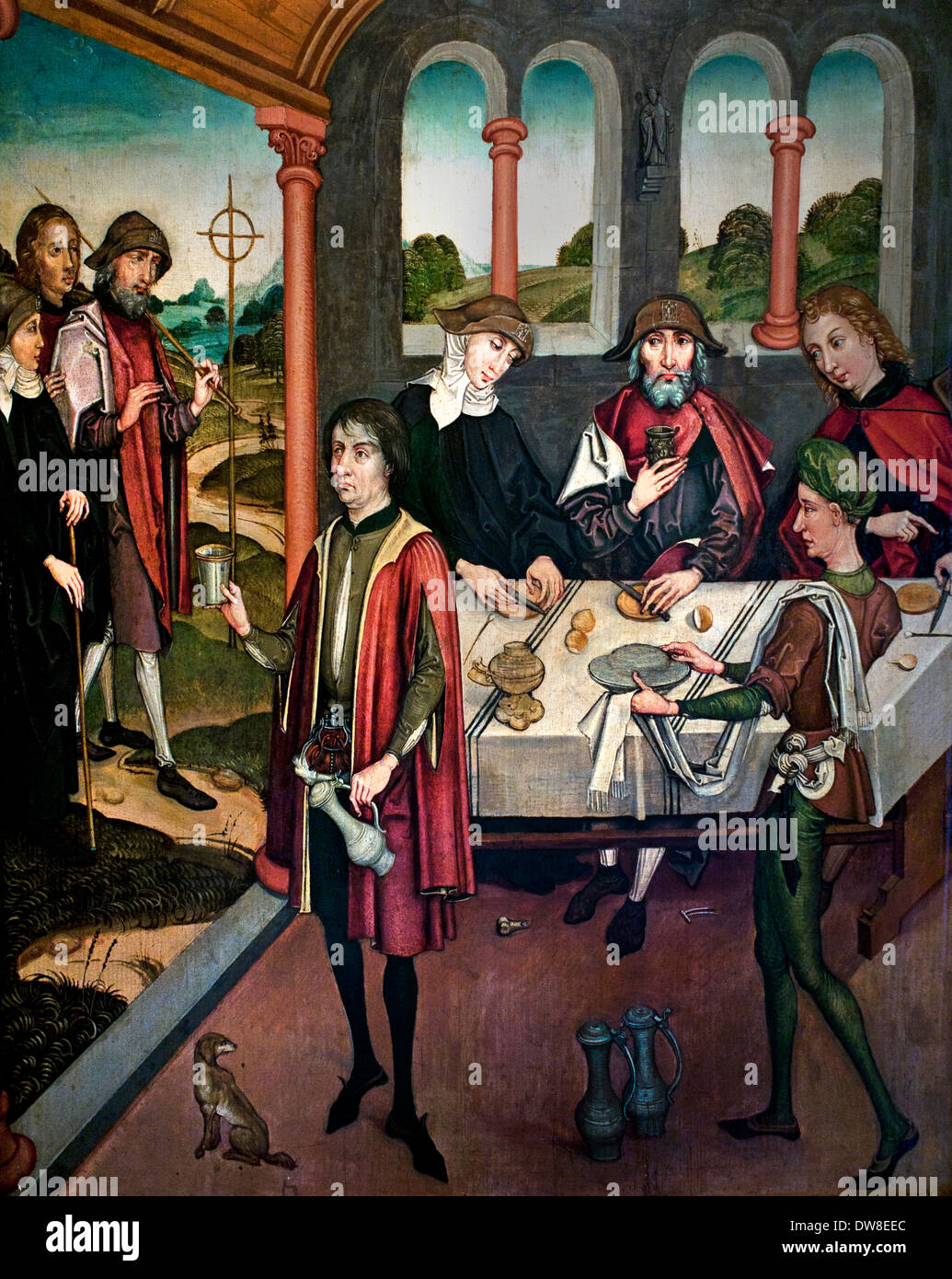 Three pilgrims on their way to St James of  Compostela 1480 master of Strasbourg France French - Stock Image