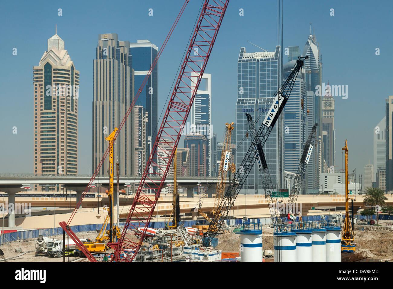 Construction on a building site near the Dubai Mall, Dubai, UAE, United Arab Emirates Middle East - Stock Image