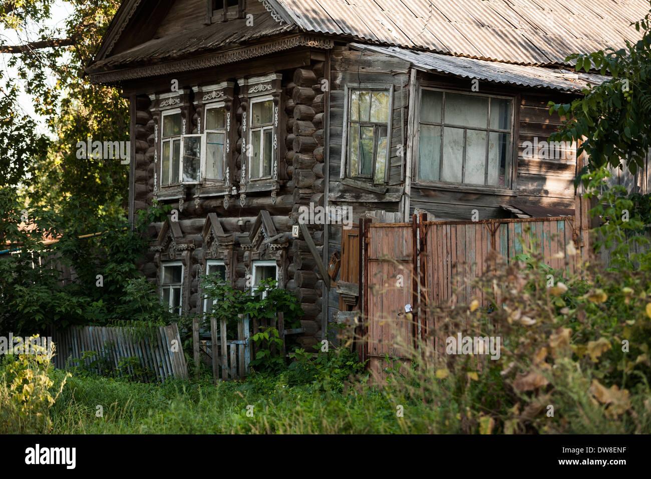 Traditional carved architecture in Kozmodemyansk, Mari El republic, Russia Stock Photo