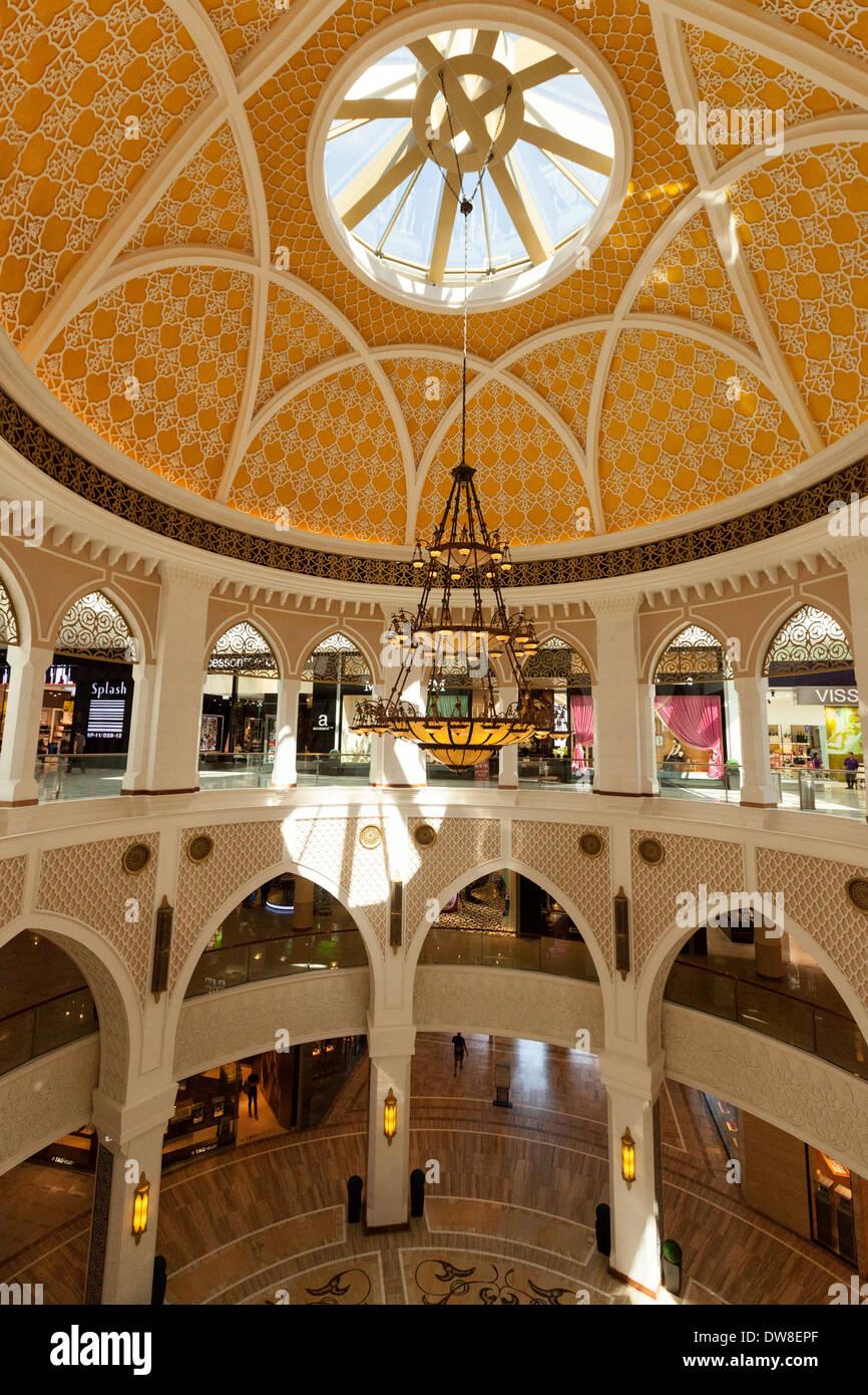 The ornate interior of the Dubai Mall, largest shopping mall in the world, Dubai, UAE, United Arab Emirates Middle East - Stock Image