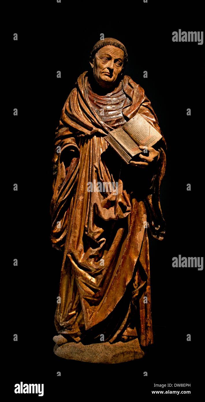 Saint moine ( Saint Bernard de Fontaine abbé de Clairvaux 1090 Dijon ) statue 1520 wood Cathedral Strasbourg  France Stock Photo