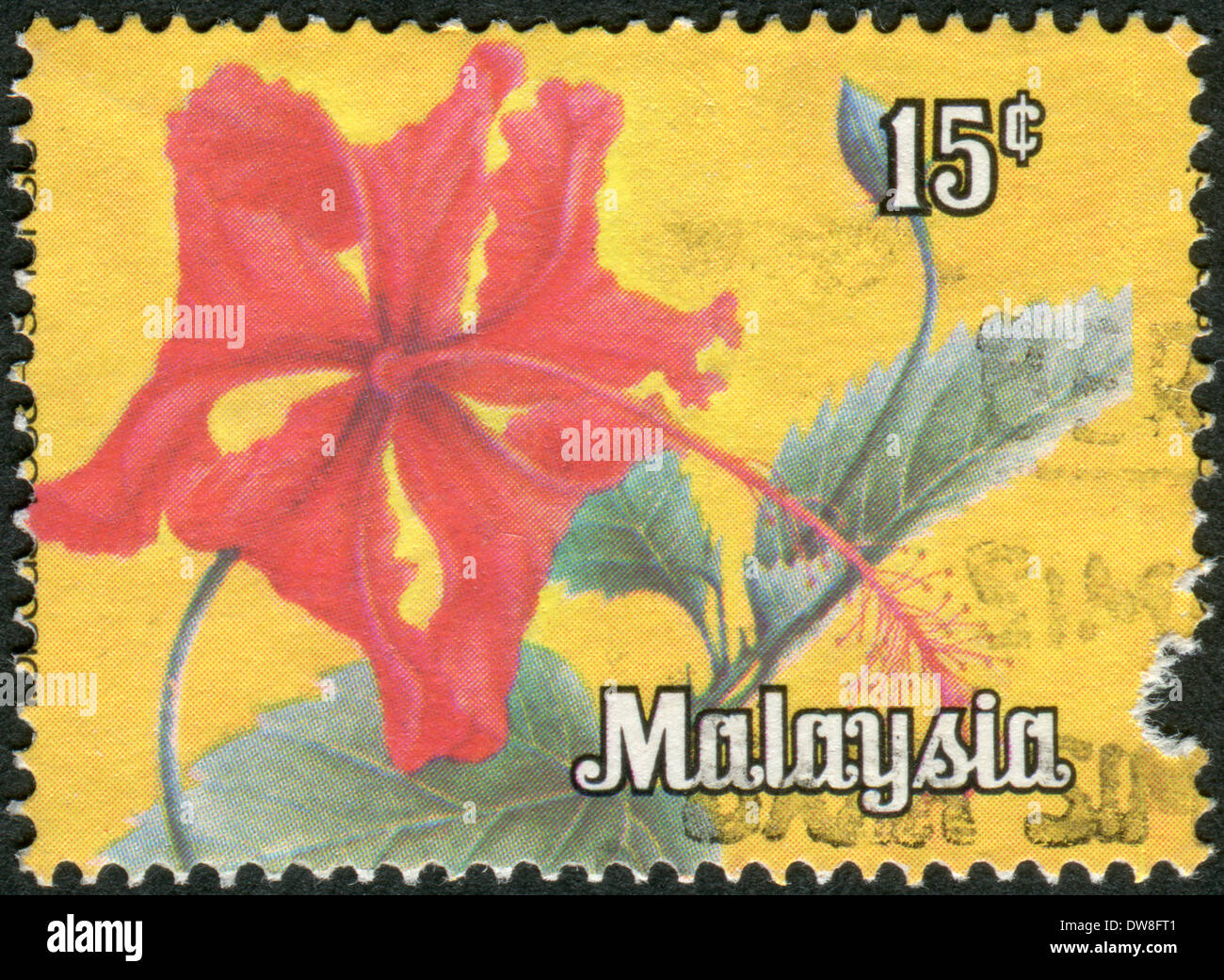 MALAYSIA - CIRCA 1979: Postage stamp printed in Malaysia, flower shows Hibiscus, circa 1979 Stock Photo