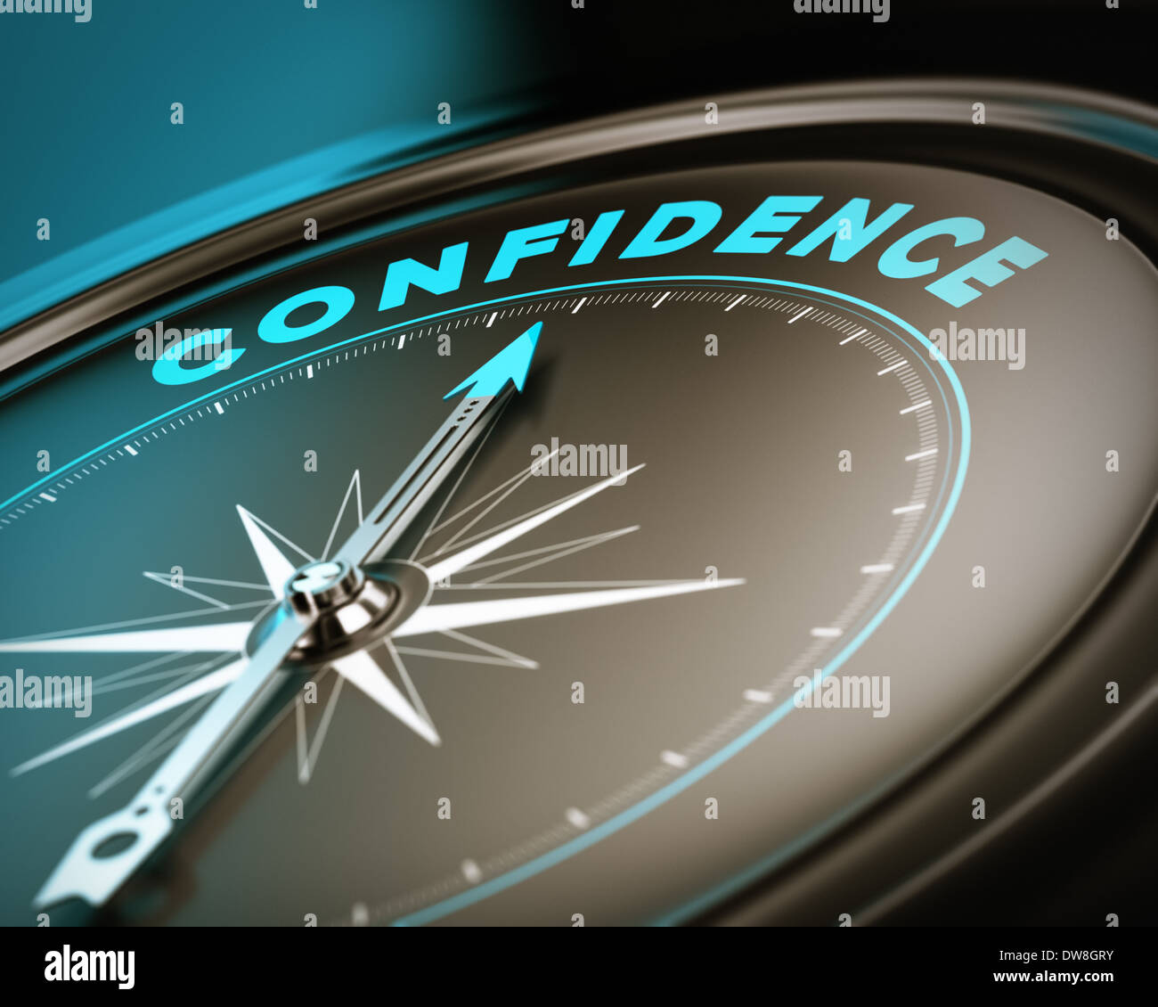 Compass with needle pointing the word confidence, self esteem concept with blue and brown tones. Focus on the top - Stock Image
