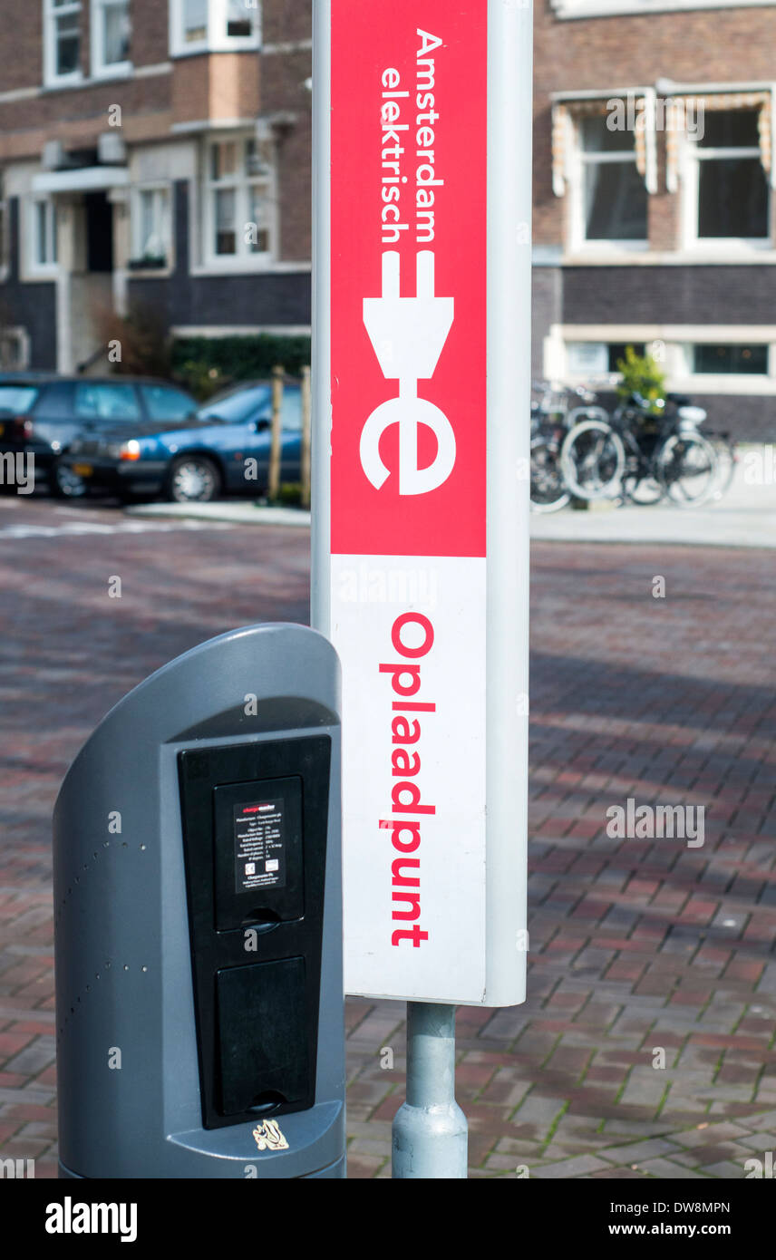 Recharging station for an electric car located in Amsterdam, the Netherlands - Stock Image