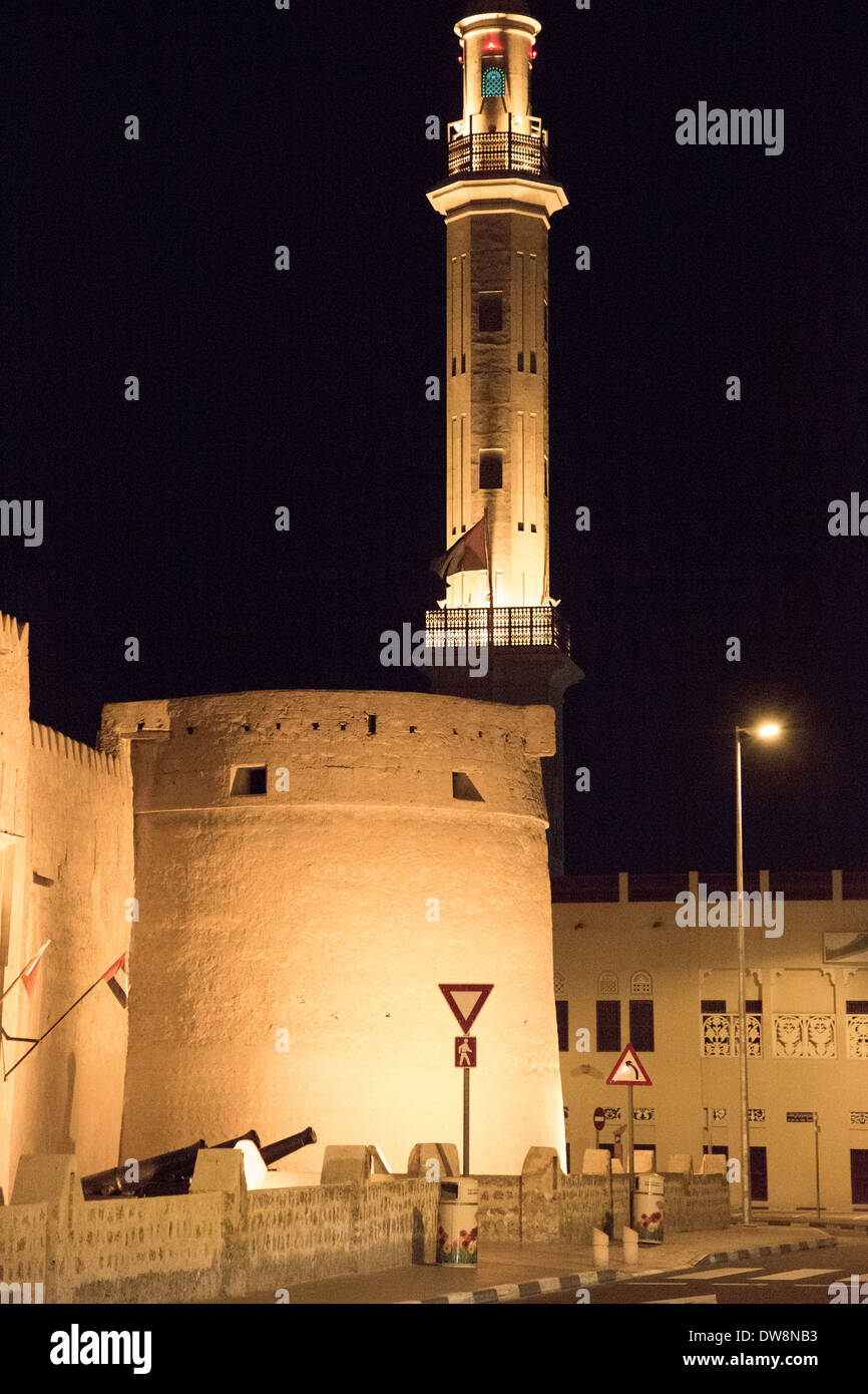 Fortifications and a tower in Dubai old town. - Stock Image