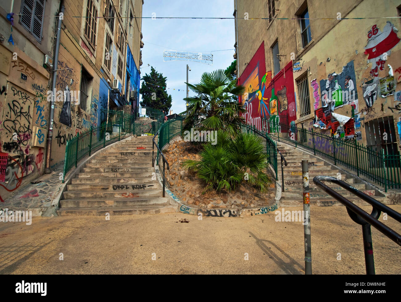 The graffiti-filled walls on the steps leading up to the Cours Julien section of Marseilles, France - Stock Image