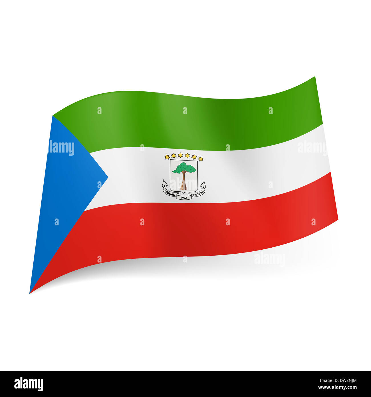 National Flag Of Equatorial Guinea Green White And Red