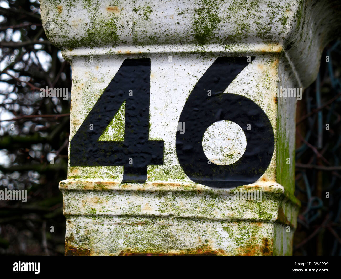 Number 46  on gatepost - Stock Image