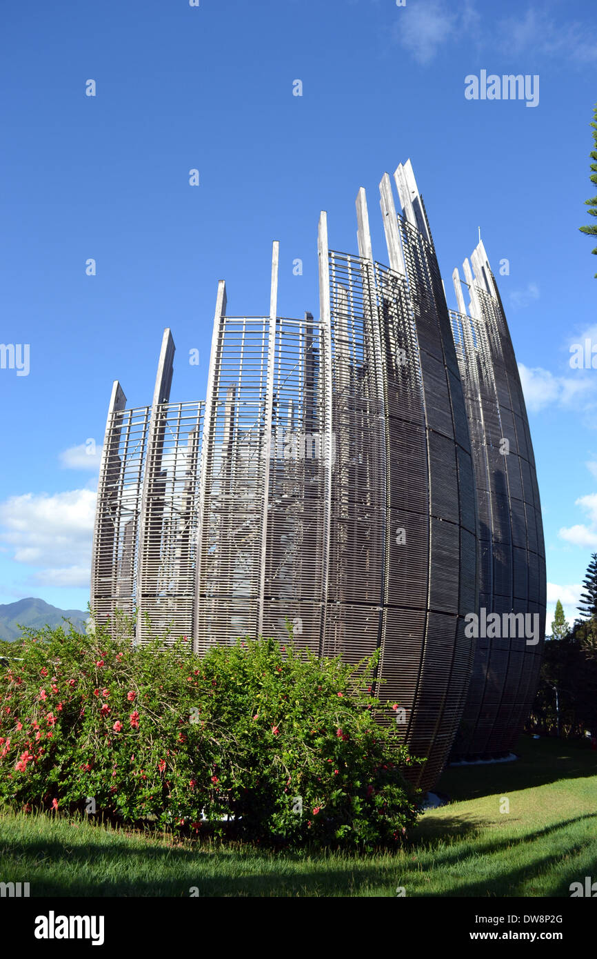 Modern architecture of Jean-Marie Tjibaou Cultural Centre, specialized in Kanak culture, Noumea, New Caledonia, South Pacific - Stock Image