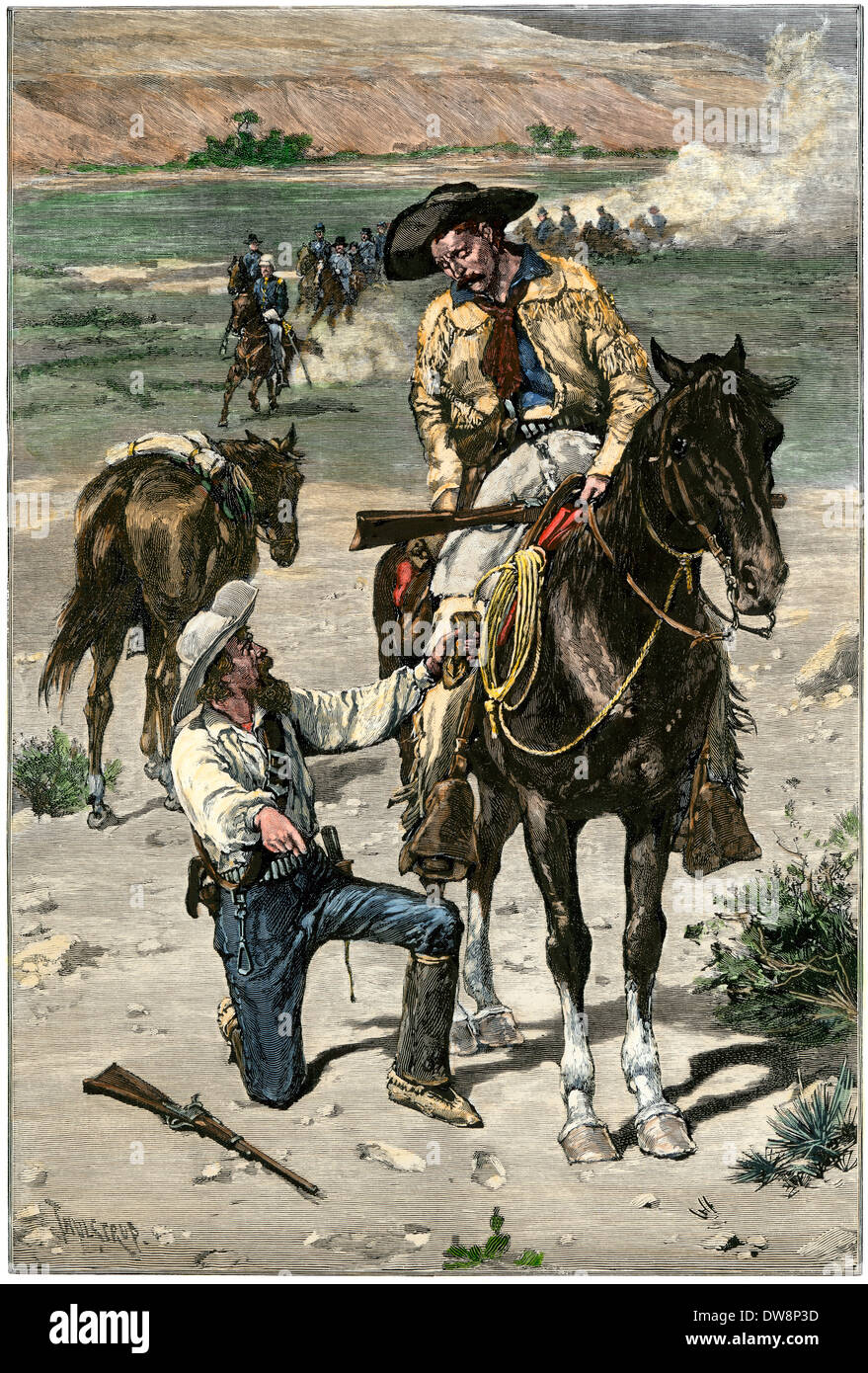 US Army scouts tracking Native American warriors on the western frontier, 1880s. Hand-colored woodcut - Stock Image