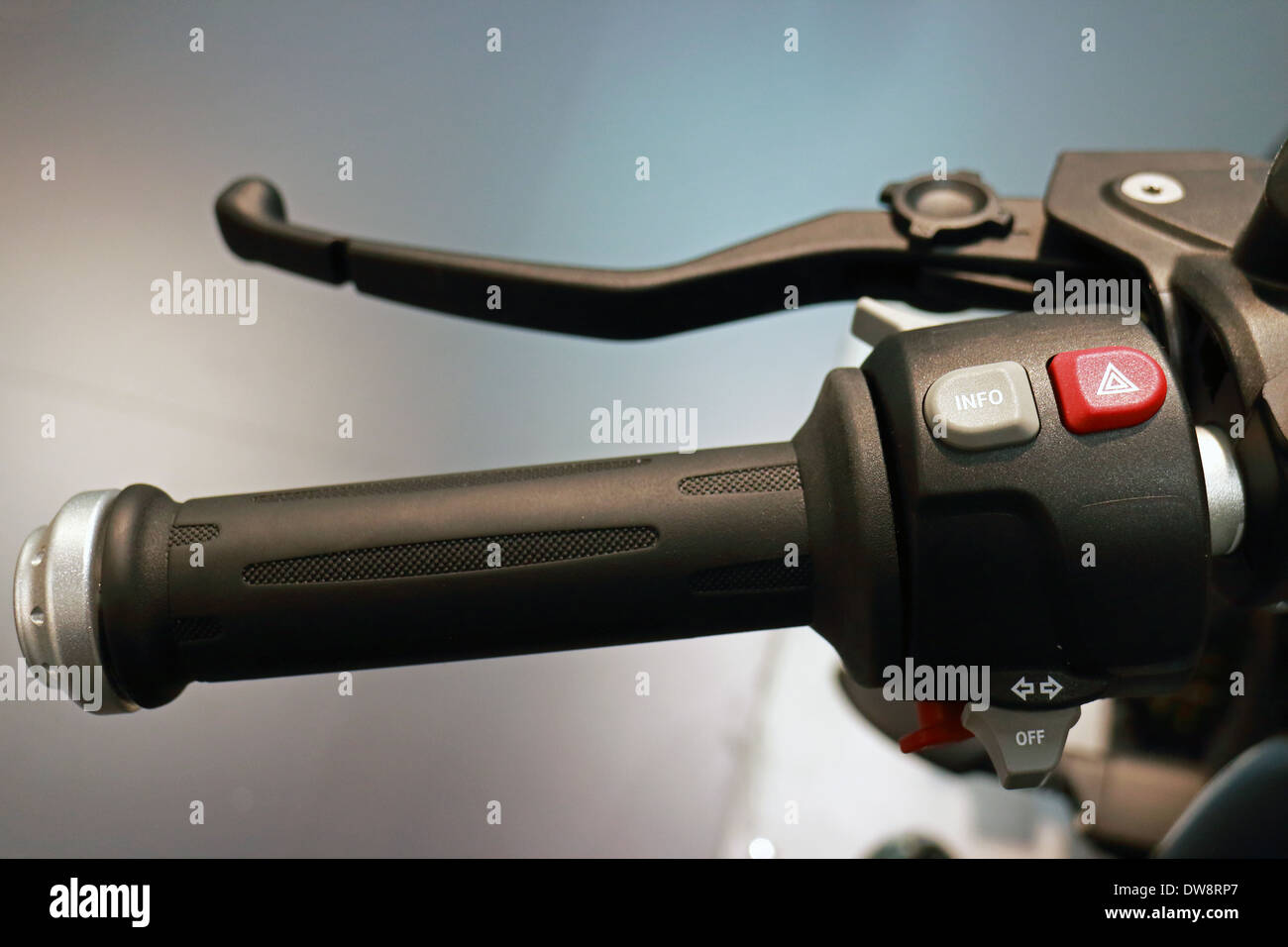 Motorcycle Steering Wheel Closeup View and Control Buttons - Stock Image