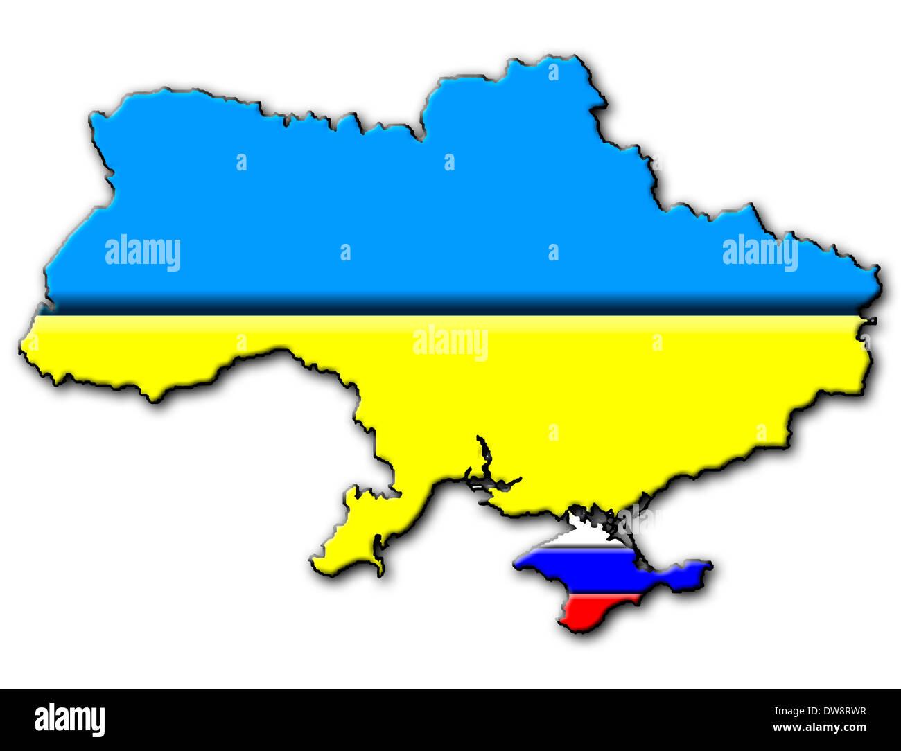 Ukraine map - national flag, Crimea with Russian national flag Stock on kolb russia map, kris russia map, kiev russia map, kursk russia map, ukraine russia border map, kara russia map, kuban russia map,